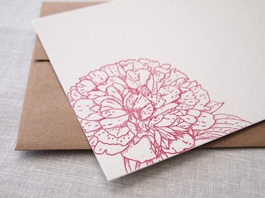Peony letterpress by Missive