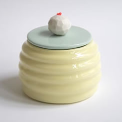 Susan Liebe yellow and mint porcelain box