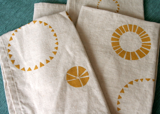 handprinted napkins by Namoo