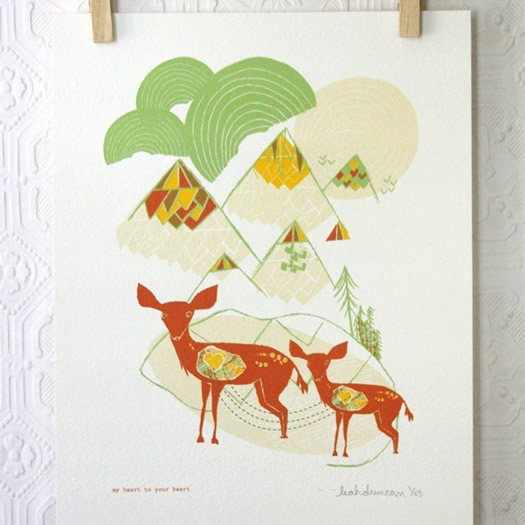 My heart to your heart print by Leah Duncan