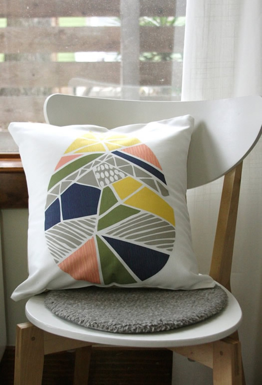 Raindrop pillow by Leah Duncan