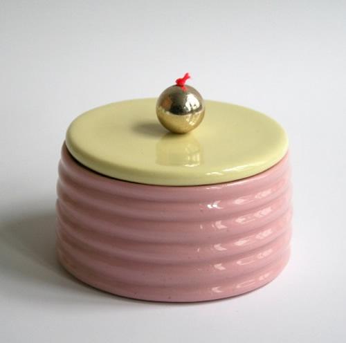 Susan Liebe pink and yellow ceramic box