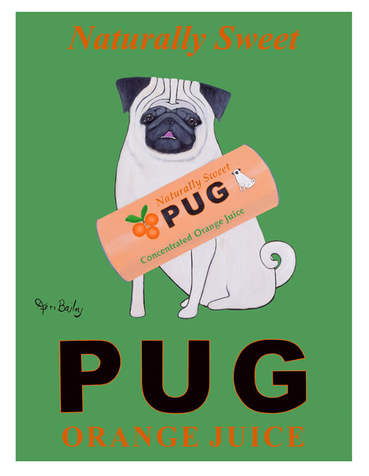 Pug Orange Juice poster by Ken Bailey