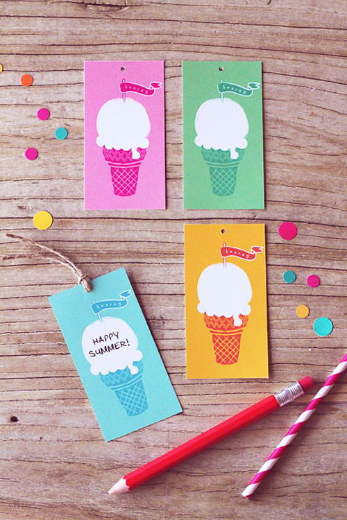 Summer ice cream tags by Eat Drink Chic