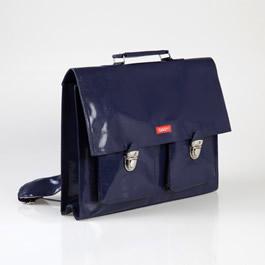 navy-blue-vinyl-satchel from French Blossom
