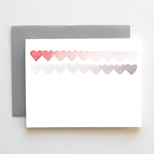Watercolor hearts card by Social Proper