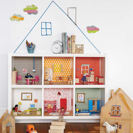 Cube bookcase turned dollhouse by Land of Nod