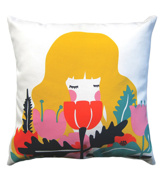 Girl in Flowers cushion cover by Beneath the Sun