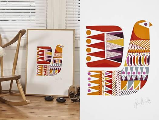 Lapinlintu print by Sanna Annukka