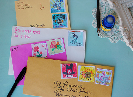 Retro play stamps and letters by Giddy Giddy