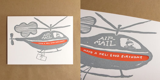 Helicopter birthday card by Egg Press