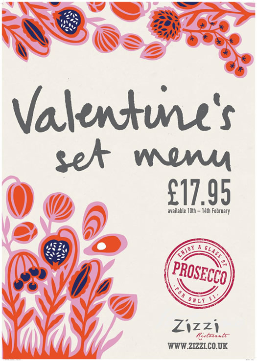 Valentine's Day menu commission by Nadia Taylor