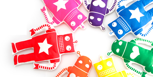 Ellie Bellie Kids rainbow of robots