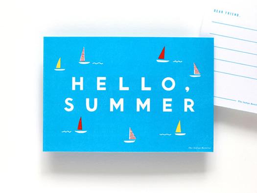 Hello Summer postcard by Erin Jang for Martha Stewart