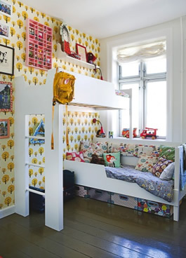 Childrens Bedroom on Bunk Bed And Ferm Living Wallpaper In Danish Children S Bedroom