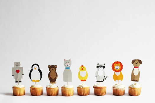 Cupcake toppers by Sarah Goldschadt for Craft a Day Book