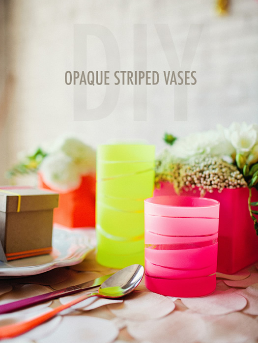 DIY Opaque Striped Vases by Ruffled Blog