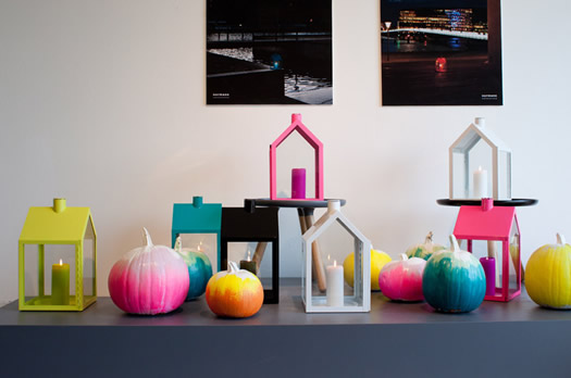 Colorful pumpkin display at Normann Copenhagen
