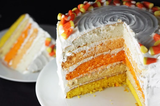 Ombre Candy Corn Cake by Brit + Co