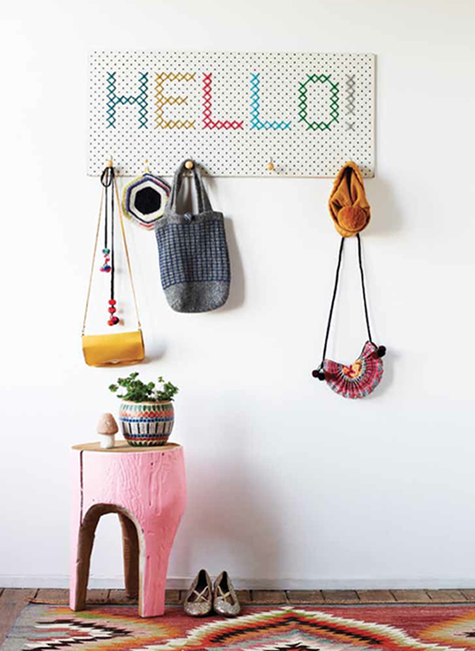 Cross Stitch coat rack by Beci Orpin in Mollie Makes
