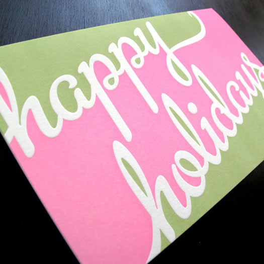 Happy Holidays letterpress card by Anemone Press