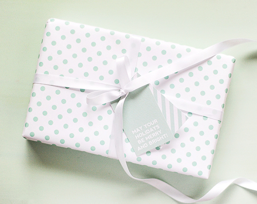Mint green dots wrapping paper by Hey Look
