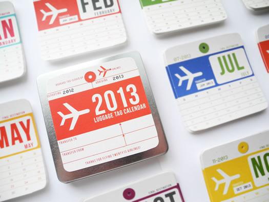 Vintage airline luggage tag calendar by Girl N Gear