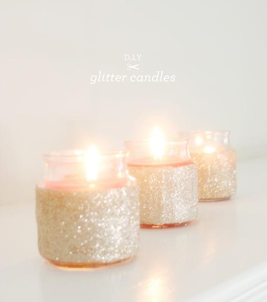 Glitter candles DIY by Brunch at Sak's