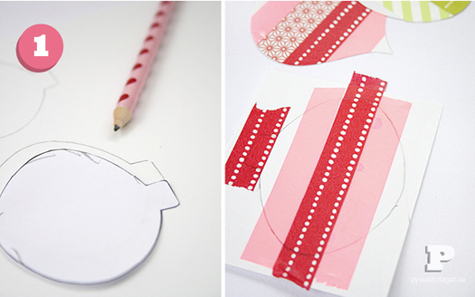 Washi tape Christmas ornaments by Pysselbolaget