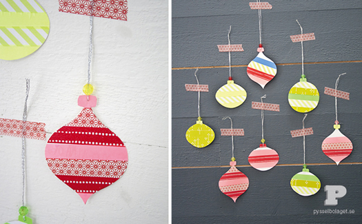 Washi tape Christmas ornaments by Pysselbolaget 2
