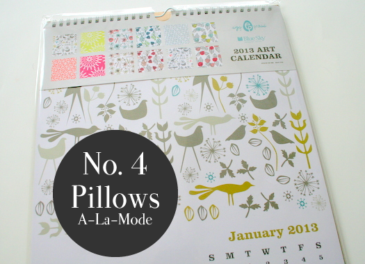 Art calendar winner pillows a la mode