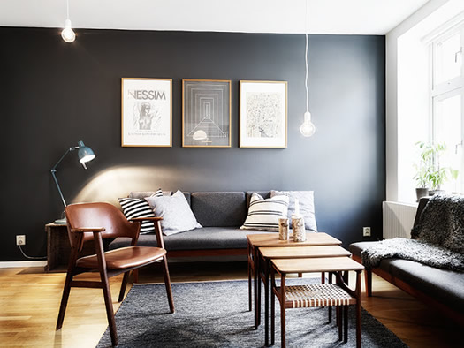 Dark Grey Accent Wall Living Room